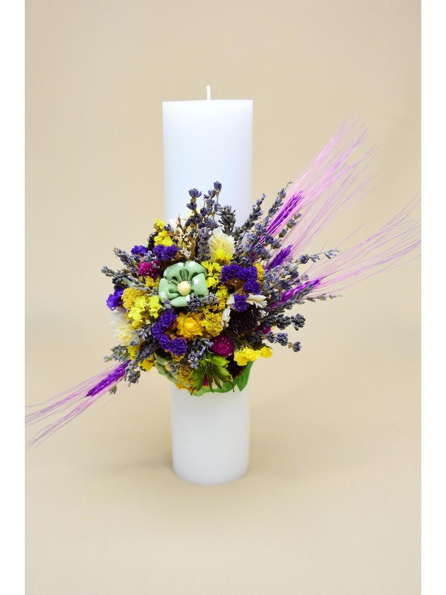 Lumanare botez ingerasi si flori
